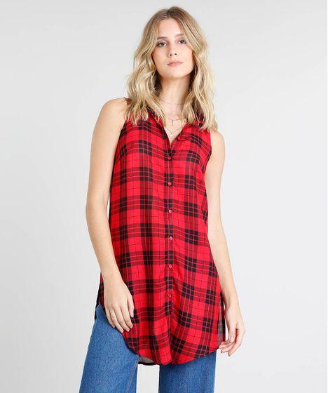 53ff513de4 Camisa Feminina Longa Estampada Xadrez Sem Manga Vermelha - cea