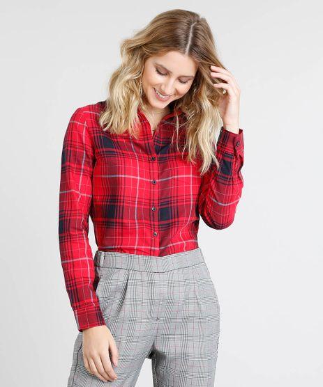 Camisa-Feminina-Estampada-Xadrez-com-Bolso-Manga-Longa-Vermelha-9369617-Vermelho_1