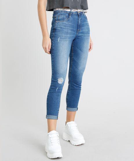 Calca-Jeans-Feminina-Cropped-com-Cinto-Animal-Print-Azul-Medio-9463402-Azul_Medio_1