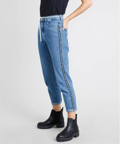 Calca-Jeans-Feminina-com-Faixa-Lateral-e-Cadarco-Azul-Medio-9463413-Azul_Medio_1