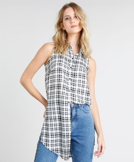 Camisa-Feminina-Longa-Estampada-Xadrez-Sem-Manga-Off-White-9364272-Off_White_1