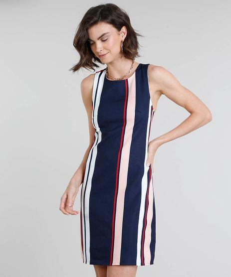 81ff89fc6 Vestido-Feminino-Curto-Listrado-Decote-Redondo-Azul-Marinho-