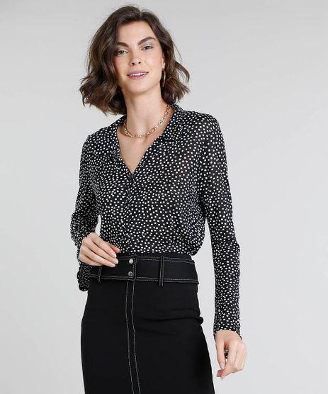 Camisa-Feminina-Estampada-Quadriculada-Manga-Sino-Preta-9449164-Preto_1