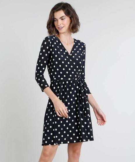 Vestido-Feminino-Curto-Estampado-de-Poa-Manga-Curta-Preto-9484995-Preto_1