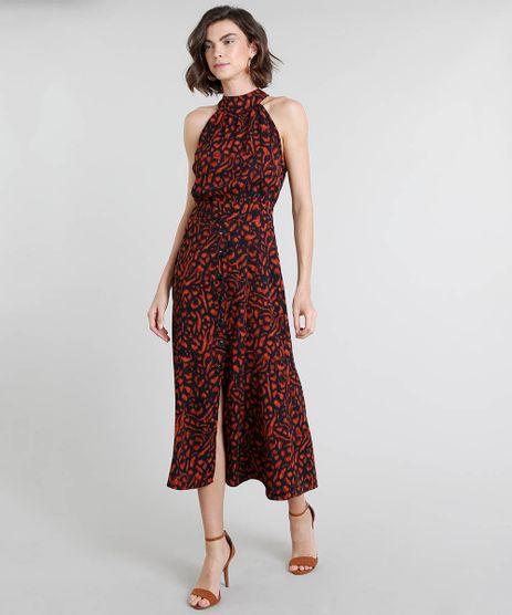 Vestido-Feminino-Midi-Halter-Neck-Estampado-Animal-Print-com-Botoes-Preto-9375379-Preto_1