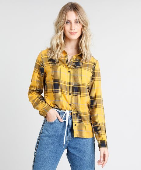 Camisa-Feminina-Estampada-Xadrez-com-Bolso-Manga-Longa-Mostarda-9369617-Mostarda_1