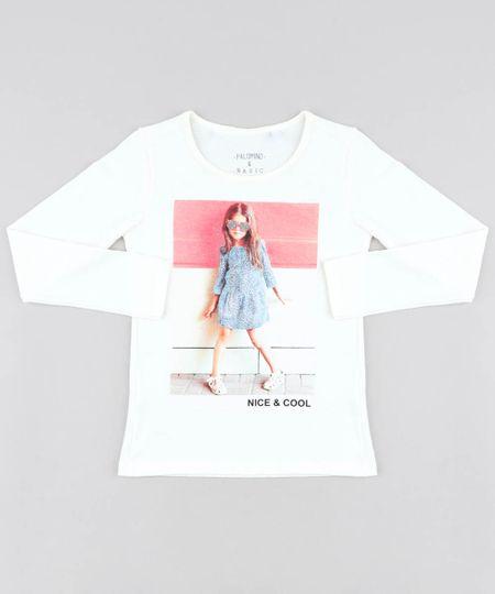 285a79974 Blusa Infantil Menina com Glitter Manga Longa Decote Redondo Off White