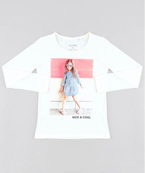c7e7cf1124d29 Blusa Infantil Menina com Glitter Manga Longa Decote Redondo Off ...