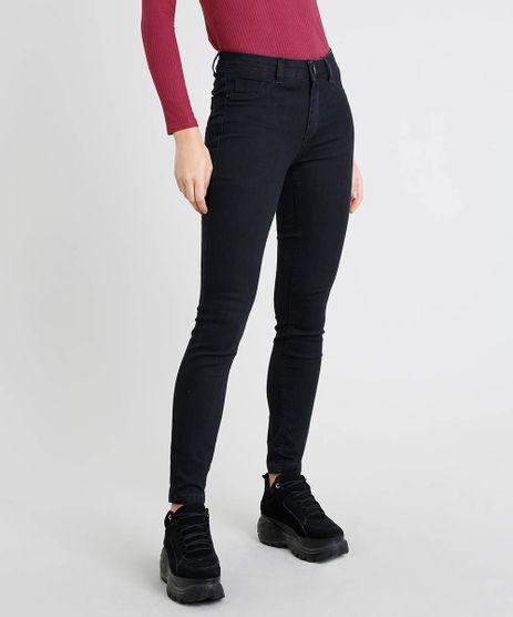 Calca-Jeans-Feminina-Cigarrete-Cintura-Media-Preta-9042824-Preto_1