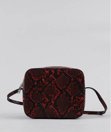 1c14f4675 Bolsa Feminina Transversal Pequena Estampada Animal Print Vermelha - cea