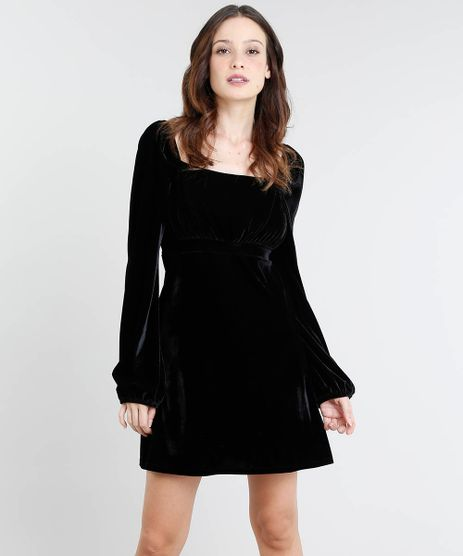 Vestido-Feminino-Curto-Mindset-em-Veludo-Manga-Longa-Decote-Princesa-Preto-9537545-Preto_1