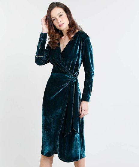 Vestido-Feminino-Mindset-Midi-Transpassado-em-Veludo-Manga-Longa-Verde-9555078-Verde_1