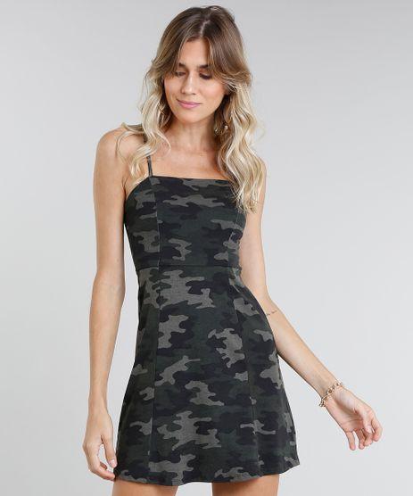 887ad1828 Vestido-Feminino-Curto-Estampado-Camuflado-Verde-Militar-9464450-