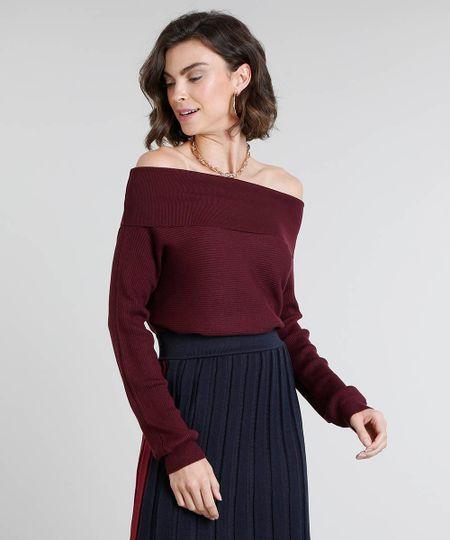 3da973a138 Menor preço em Blusa Feminina em Tricô Ombro a Ombro Manga Longa Vinho