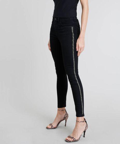Calca-Jeans-Feminina-Cigarrete-com-Brilho-Lateral-Preta-9463458-Preto_1