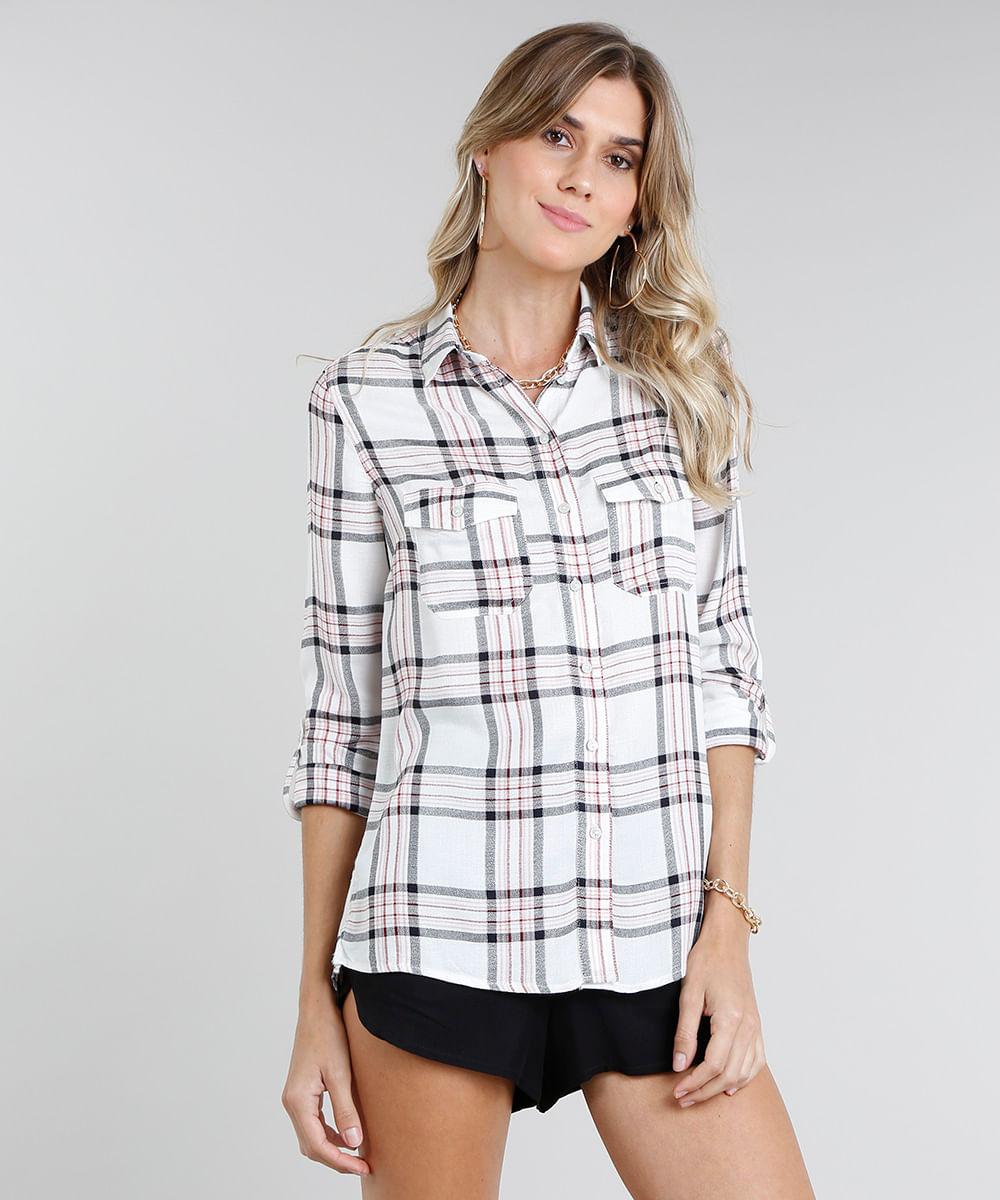 014f8d8b86 Camisa Feminina Estampada Xadrez com Lurex Manga Longa Off White - cea