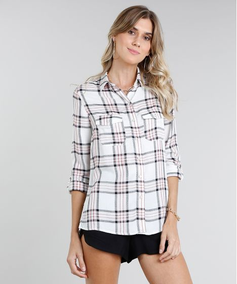 e8f02e4cc Camisa Feminina Estampada Xadrez com Lurex Manga Longa Off White - cea