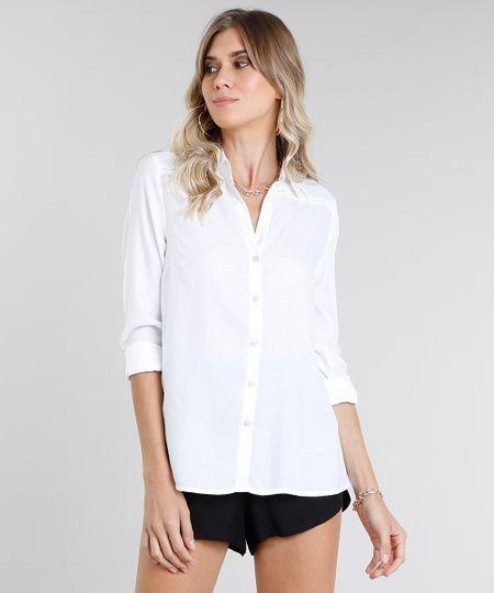 e91e4cb56 Menor preço em Camisa Feminina com Fenda Manga Longa Off White