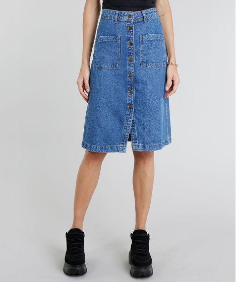 b8f00b11a Saia-Jeans-Feminina-Midi-com-Botoes-Azul-Claro- ...