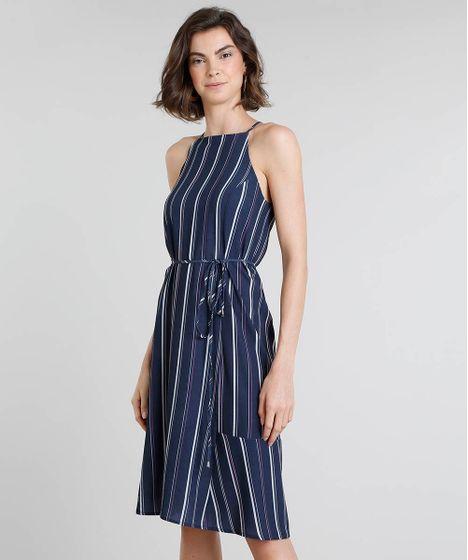 135aeea8309d2 Vestido Feminino Halter Neck Listrado com Amarração Azul Marinho - cea