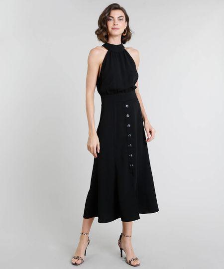 35e0c9fef2 Menor preço em Vestido Feminino Midi Halter Neck com Botões Preto