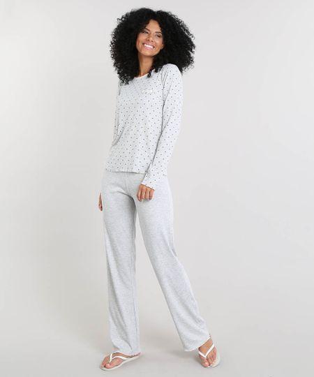 2f06e1d85 Menor preço em Pijama Feminino Canelado Coala Estampado de Corações Manga  Longa Cinza Mescla