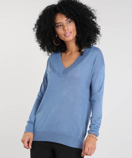 Sueter-Feminino-em-Trico-Gola-V-Azul-9345284-Azul_1
