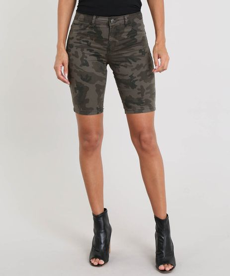 48ad1ef99 Bermuda-Ciclista-Feminina-Estampada-Camuflagem-Verde-Militar-9492495-
