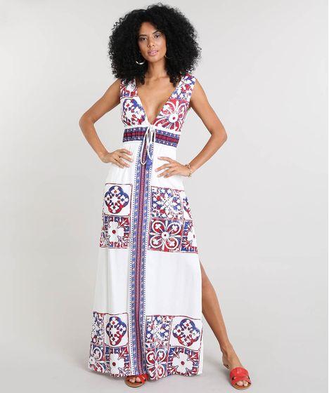 9b3d06e57 Vestido Feminino Longo Estampado de Azulejo com Tassel Alça ...