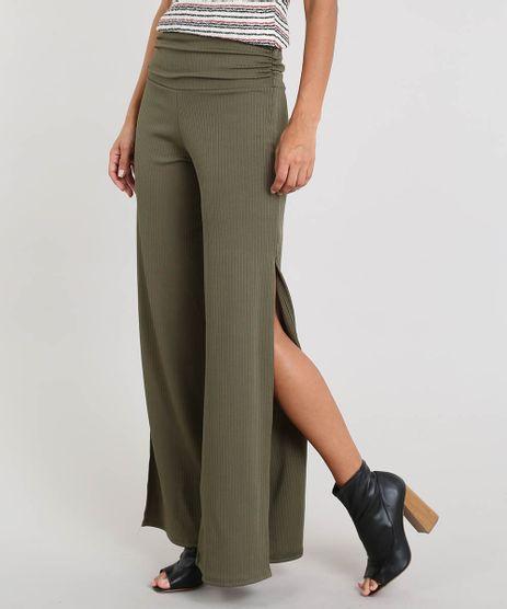 Calca-Feminina-Pantalona-Canelada-com-Fenda-Verde-Militar-9460409-Verde_Militar_1