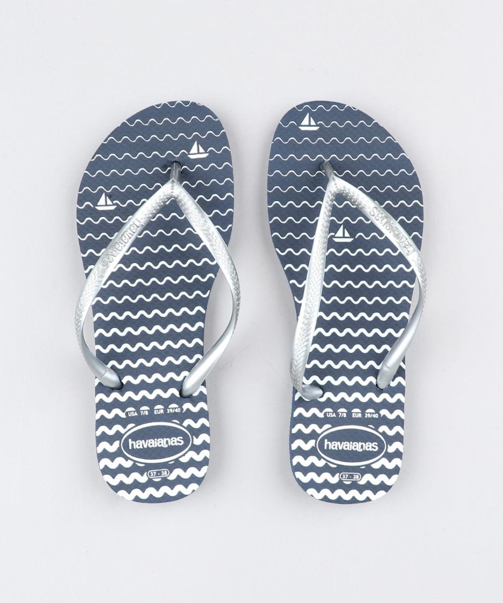 e5e3a09cb3 Chinelo Feminino Havaianas Slim Estampado Navy Azul Marinho - cea