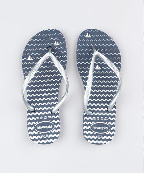 efc34be85 Chinelo Feminino Havaianas Slim Estampado Navy Azul Marinho - cea