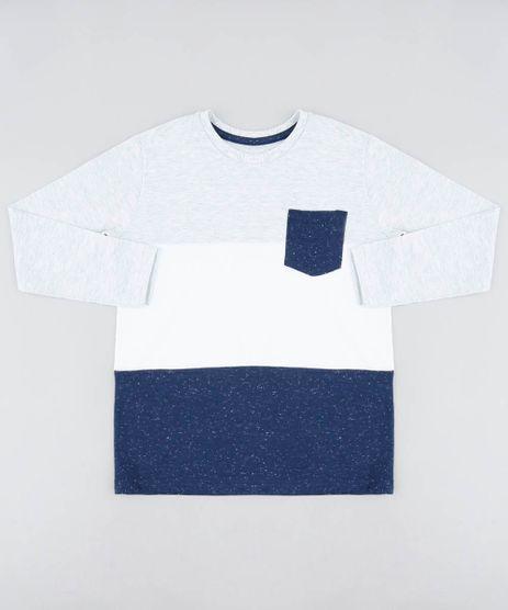 Camiseta-Infantil-com-Recorte-e-Bolso-Manga-Longa-Gola-Careca-Cinza-Mescla-Claro-9440093-Cinza_Mescla_Claro_1