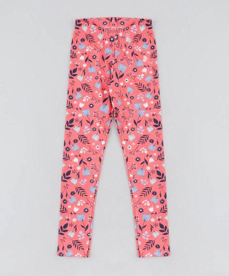 Calca-Legging-Infantil-Estampada-Floral-Coral-9504288-Coral_1