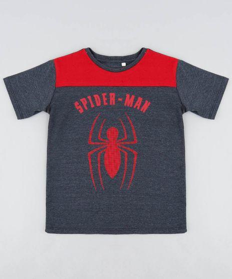 Camiseta-Infantil-Homem-Aranha-Manga-Curta-Gola-Careca-Cinza-Mescla-Escuro-9455781-Cinza_Mescla_Escuro_1