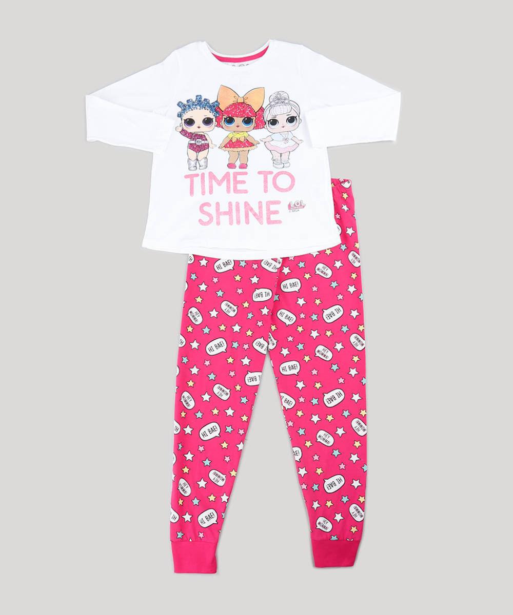 84f2ca9e0 Pijama Infantil LOL Surprise com Glitter Manga Longa Off White - cea