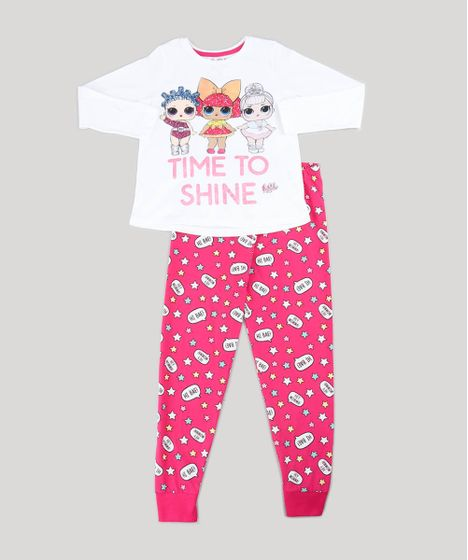 5ca7503f5067b Pijama Infantil LOL Surprise com Glitter Manga Longa Off White - cea