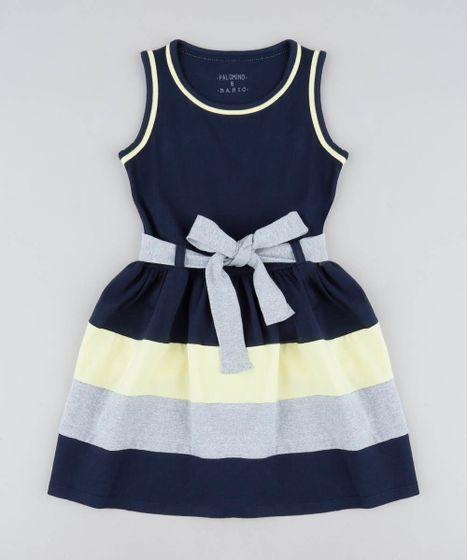 1b2e24aac Vestido Infantil com Recortes e Laço Azul Marinho - cea
