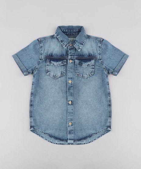 Camisa-Jeans-Infantil-com-Bolsos-Manga-Curta-Azul-Medio-9487248-Azul_Medio_1