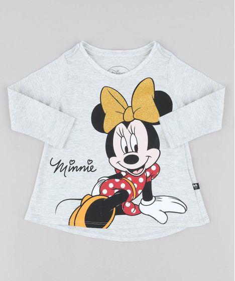 8e5ee49ba4 Blusa Infantil Minnie com Glitter Manga Longa Decote Redondo Cinza ...