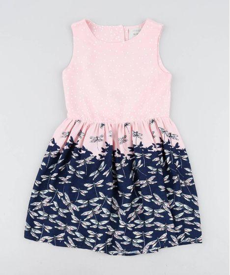 9637fe2e1394b0 Vestido Infantil Estampado de Libélulas com Coração Vazado Rosa Claro