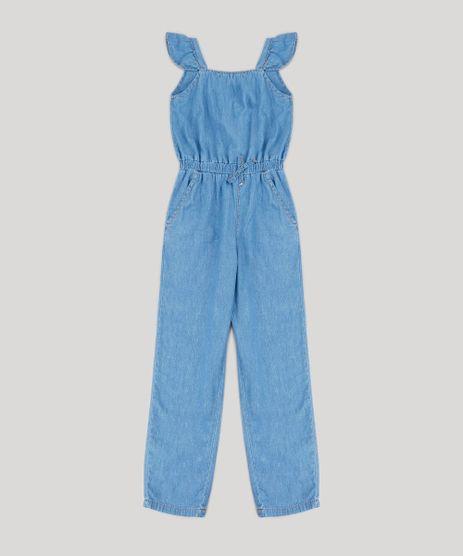Macacao-Infantil-em-Jeans-com-Babado-e-Laco-Azul-Claro-9413072-Azul_Claro_1