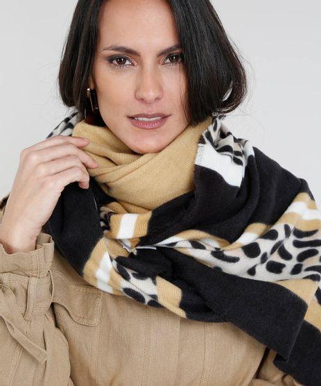 Cachecol-Feminino-com-Estampa-Animal-Print-Bege-9401565-Bege_1