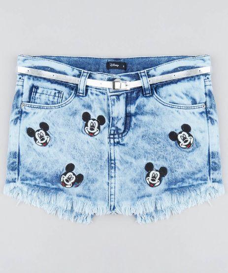 Short-Saia-Jeans-Infantil-Mickey-com-Barra-Desfiada-e-Cinto-Azul-Claro-9479794-Azul_Claro_1