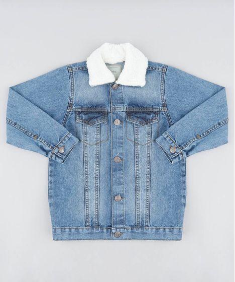 bcd6dd62996fc Jaqueta-Jeans-Infantil-com-Pelo-Azul-Medio-9487247- ...