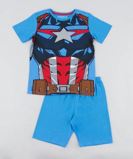 Pijama-Infantil-Capitao-America-Manga-Curta-Azul-9476324-Azul_1
