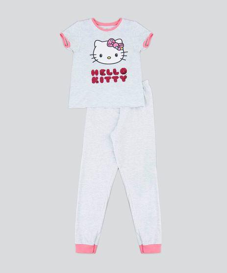 Pijama-Infantil-Hello-Kitty-com-Paete-Dupla-Face-Manga-Curta-Cinza-Mescla-Claro-9476295-Cinza_Mescla_Claro_1