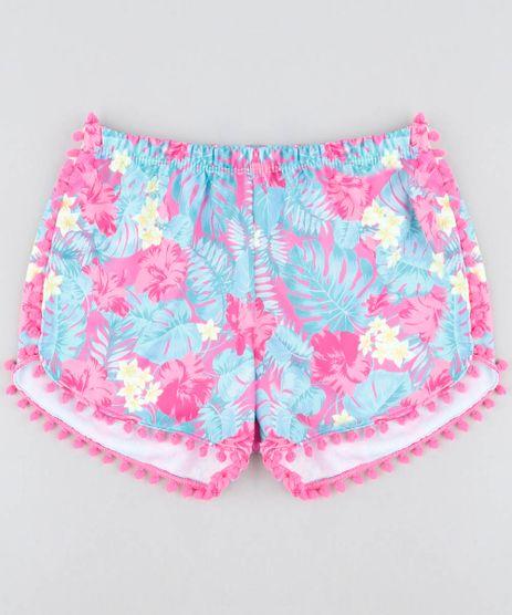 Short-de-Praia-Infantil-Estampado-de-Folhagem-com-Pompom-Pink-9422417-Pink_1