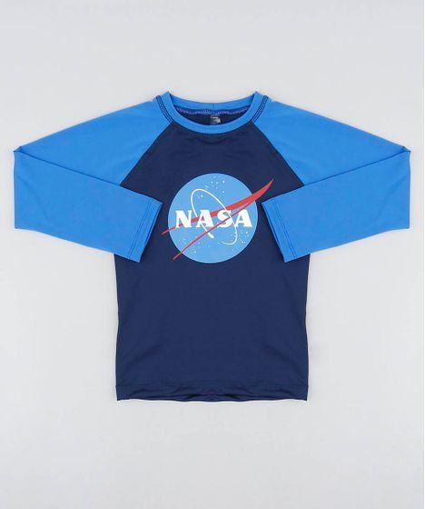 cc0e5f3fe Camiseta de Praia Infantil Raglan com Estampa Lunar Manga Longa Azul ...
