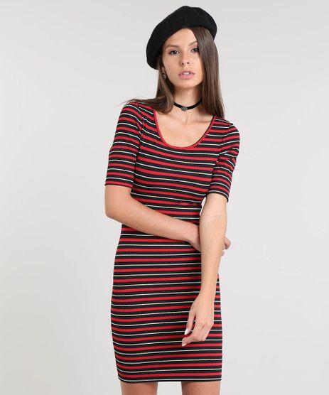Vestido-Feminino-Listrado-Curto-Canelado-Vermelho-9297318-Vermelho_1